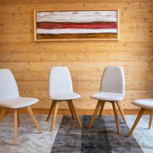 F84 Natur Eiche geölt | Bezug Sitz Loden Stuhl - Set